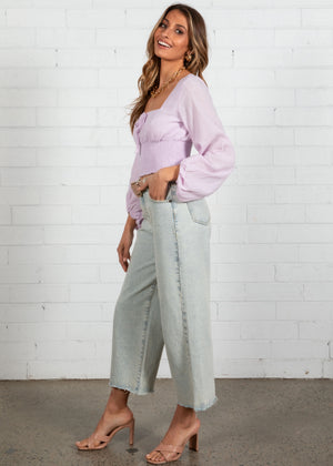 Let It Be Cropped Blouse - Lilac