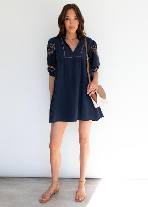 Flame Tree Smock Dress - Navy