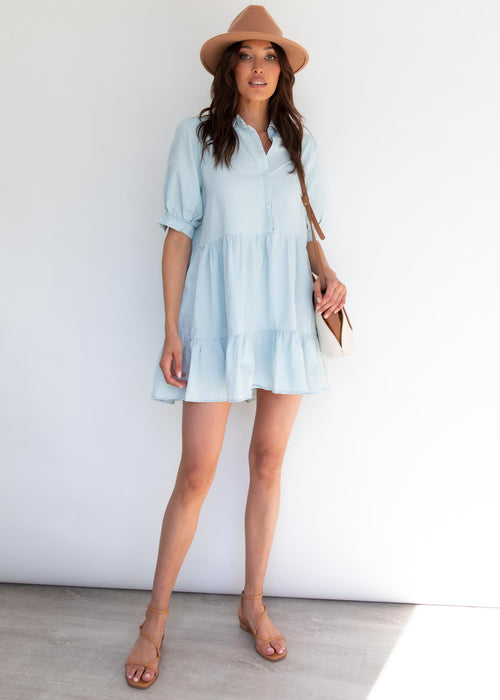 Asten Denim Dress - Light Blue