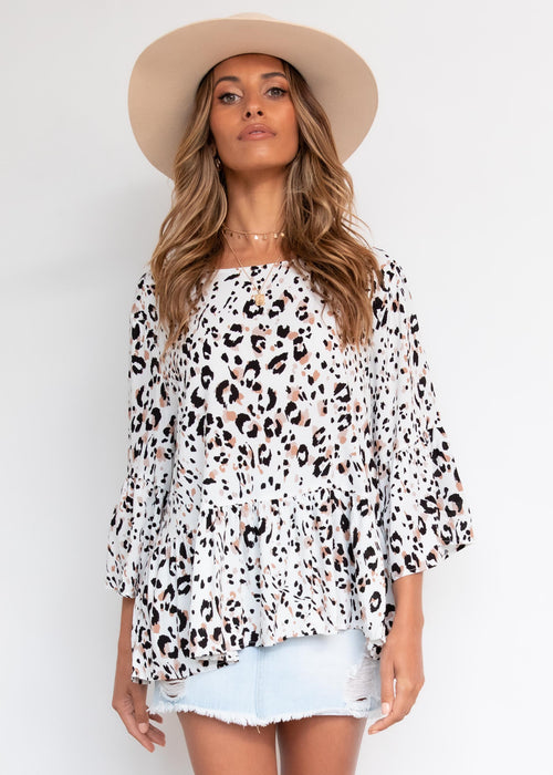 Passionate One Blouse - Snow Leopard