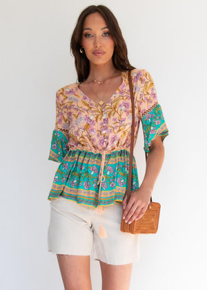 Elvina Blouse - Peach Oasis