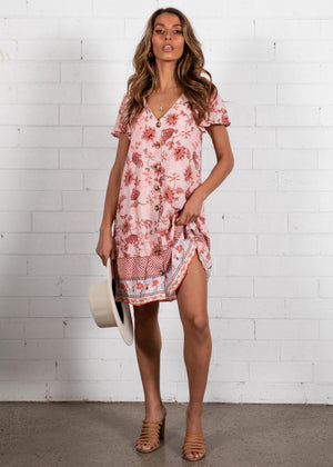 Ellerie Tunic Dress - Pink Paisley