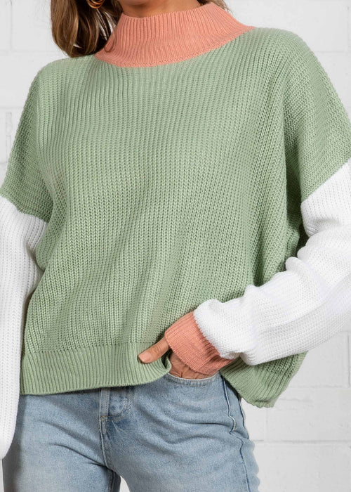 Marlo Block Sweater - Sage