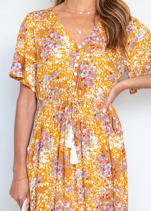 Hyper Colour Midi Dress - Mustard Floral