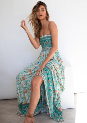 Claudia Maxi Dress - Emerald Floral