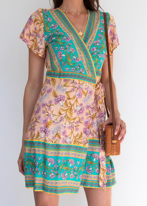 Yusra Wrap Dress - Peach Oasis