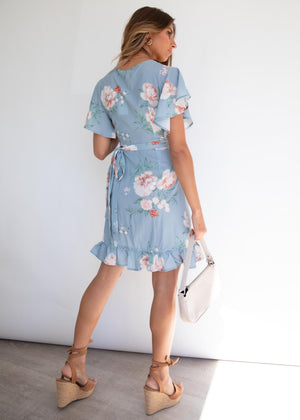 Beyond Belief Wrap Dress - Dusty Blue Floral