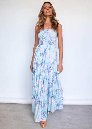 Claudia Maxi Dress - Pastel Blue