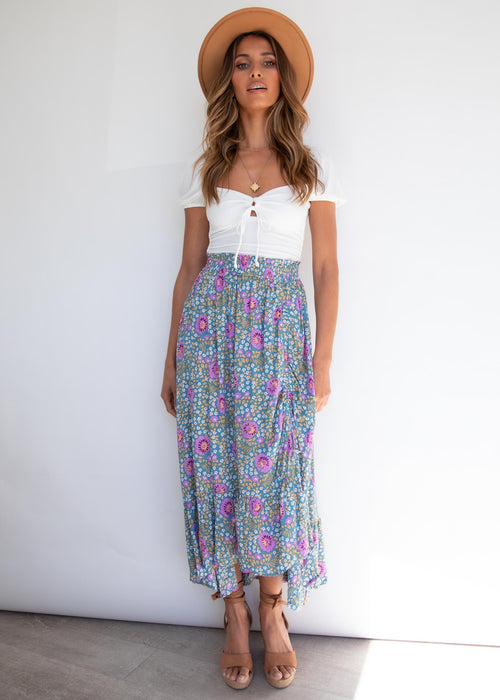 Edge of Town Midi Skirt - Blue Floral