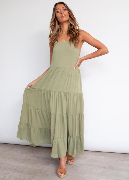 Soft Side Maxi Dress - Khaki