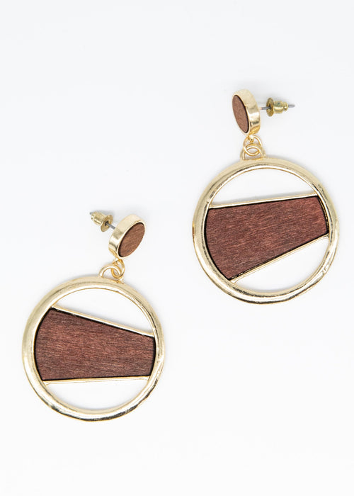 Calliope Earrings - Gold/Brown