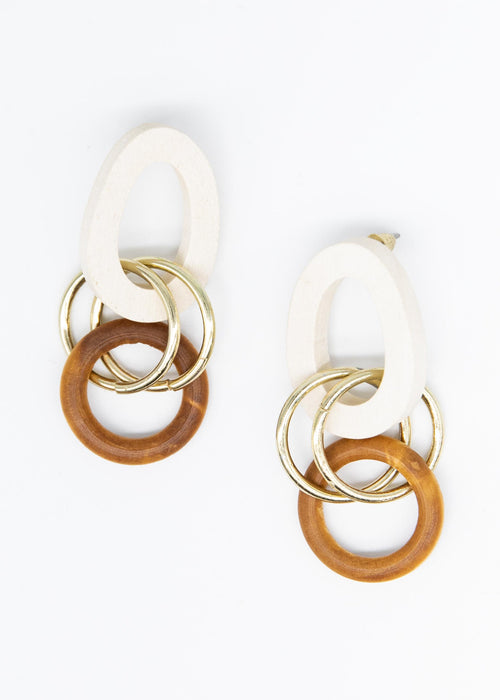 Candlelight Earrings - Cream/Gold/Brown