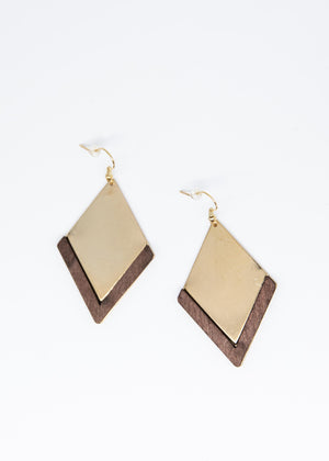 Arrow Earrings - Gold/Brown