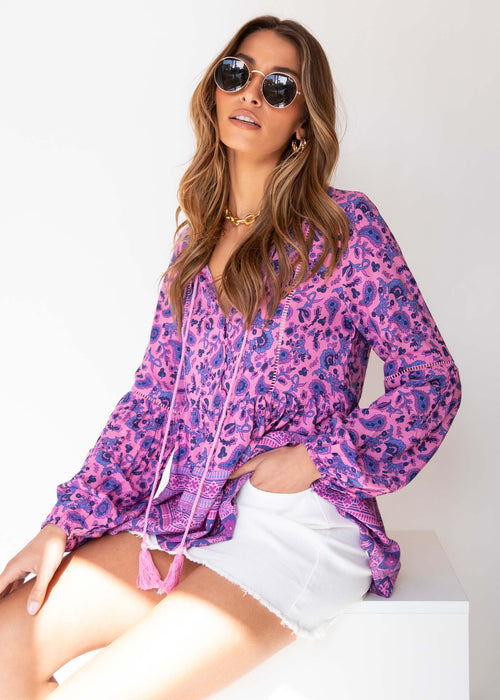 Later Date Blouse - Pink Paisley