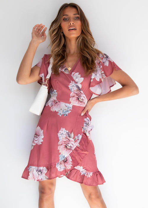 Beyond Belief Wrap Dress - Rose Floral