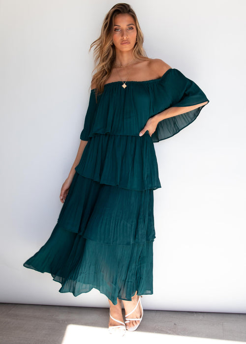 London Sisters Midi Dress - Emerald