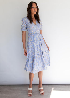 Safia Midi Wrap Dress - Periwinkle