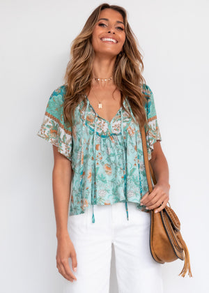 Shandy Blouse - Emerald Floral