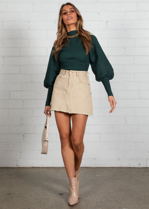 Lori Balloon Sleeve Knit Top - Emerald