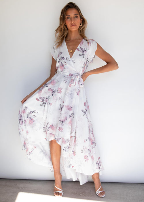 Epiphany Hi-Lo Midi Dress - White Floral