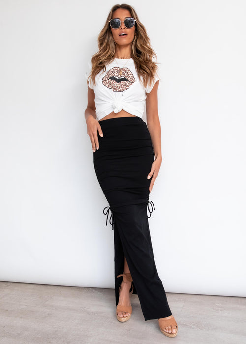 Outlaw Ruched Maxi Skirt - Black