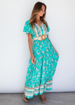 Softly Played Maxi Dress - Jade Garden