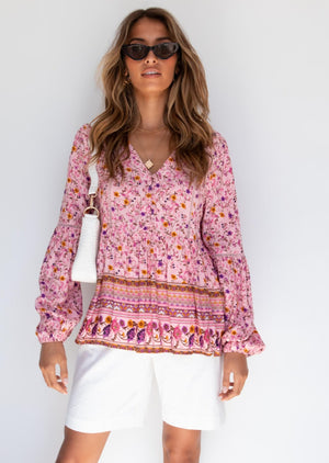 Go My Way Blouse - Pink Floral