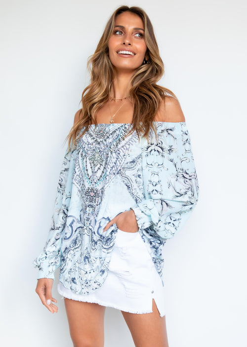 Ohana Off Shoulder Blouse - Mint Ornate