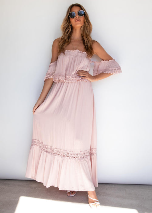 Jaryn Off Shoulder Maxi Dress - Blush