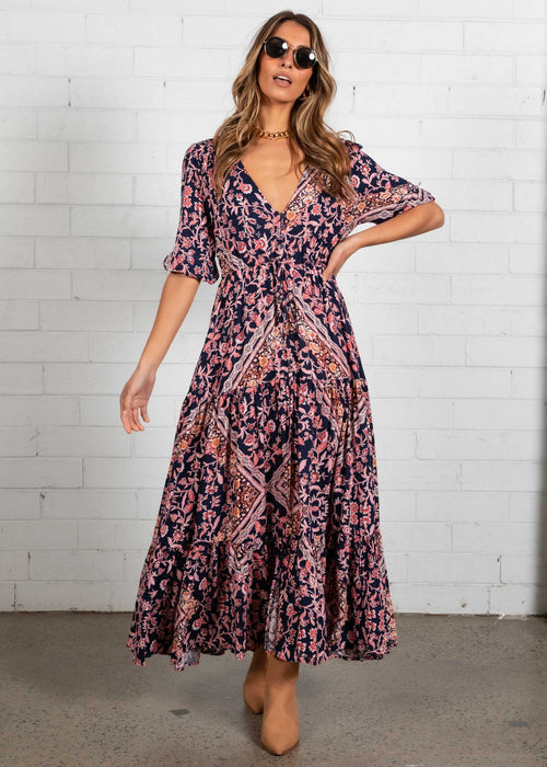 Kimili Maxi Dress - Navy Garden
