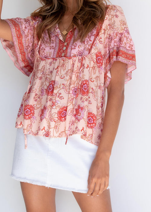 Adalin Blouse - Coral Sands