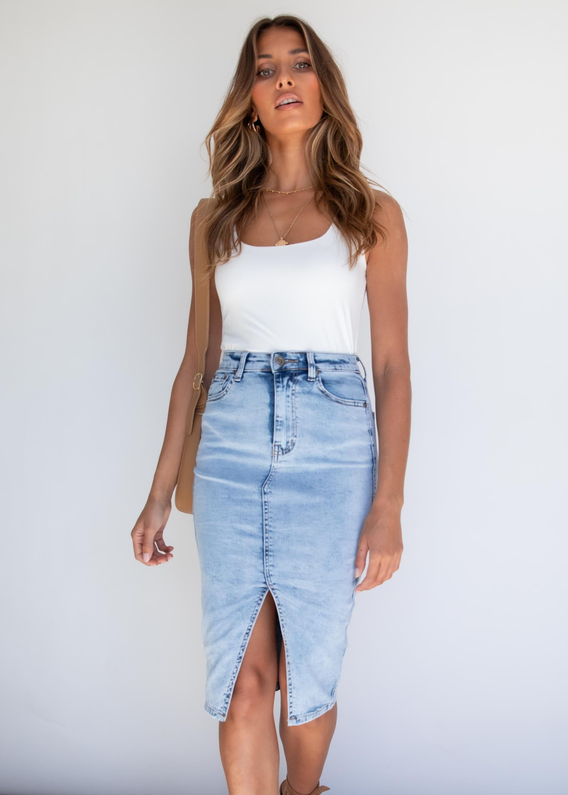 Mera Denim Midi Skirt - Acid Wash
