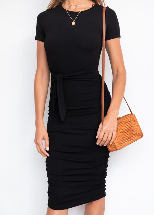 Rider Tie Midi Dress - Black