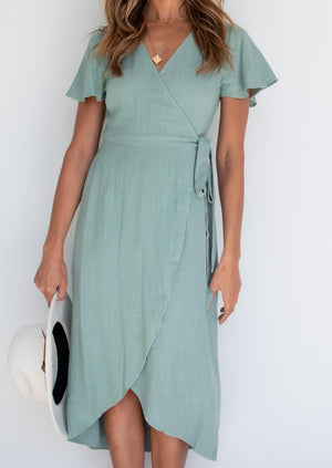 Essence Wrap Dress - Sage