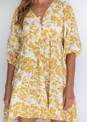 Way Of The World Dress - Mustard Floral