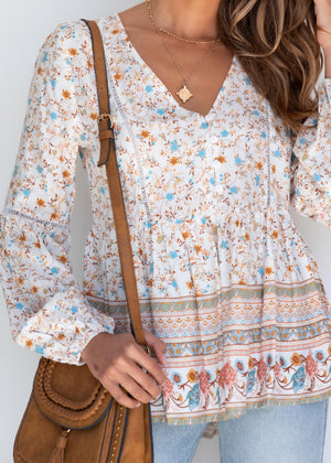 Go My Way Blouse - White Floral