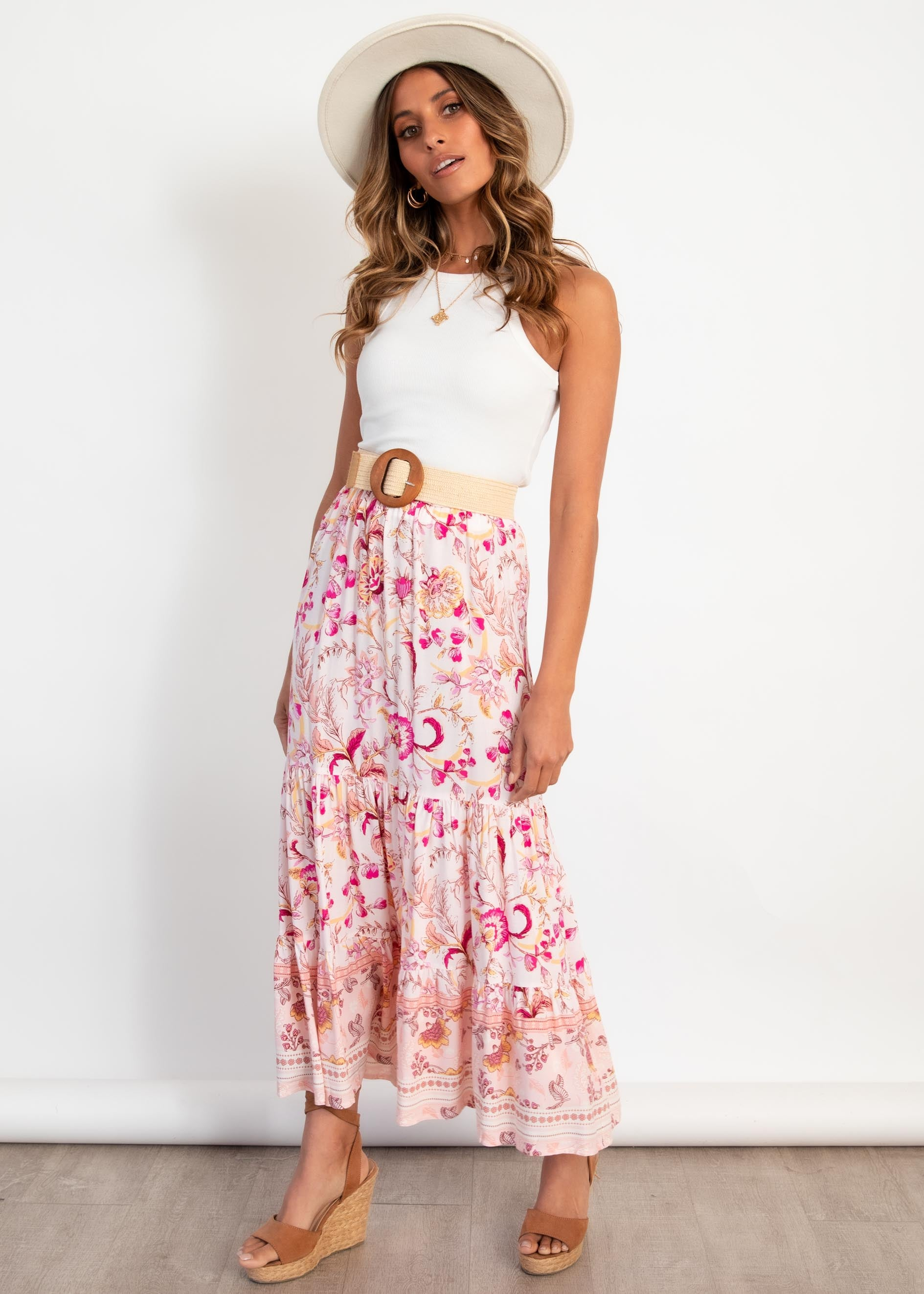 Your Song Maxi Skirt - Fuchsia Blossom