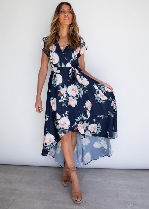Epiphany Hi-Lo Midi Dress - Navy Floral