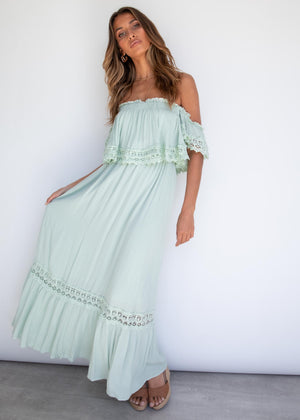 Jaryn Off Shoulder Maxi Dress - Mint