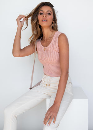 Clara Knit Top - Peach