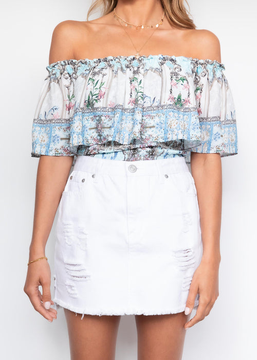 Kandace Off Shoulder Blouse - Aquamarine