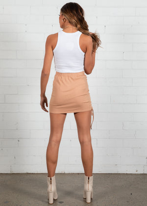 Isaac Ruched Skirt - Camel