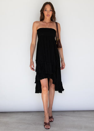 Alessandro Hi-Lo Midi  Dress - Black
