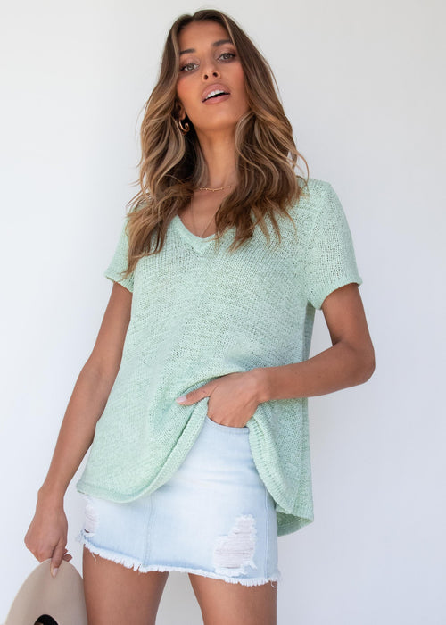 Zinnia Knit Tee - Mint