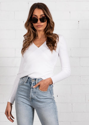 Foundations Crossover Knit Top - White
