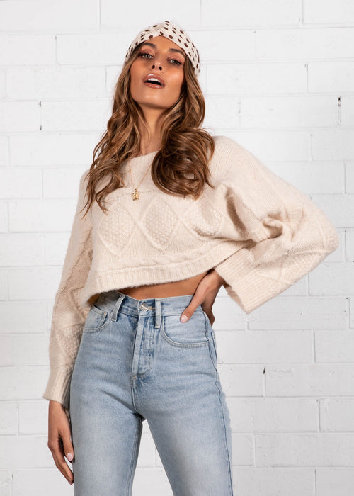 Lilliana Crop Sweater - Natural