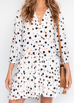 Beckham Smock Dress - Brown Polka