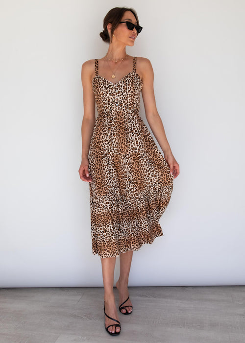 My Ties Midi Dress - Leopard