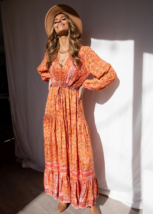 Jewel Mountain Maxi Dress - Orange Sunrise