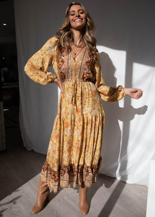 Jewel Mountain Maxi Dress - Golden Horizon